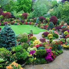Gorgeous array of plants. Find more interesting DIY Landscaping ideas and tips … – Laurence Back Gardens, Outdoor Gardens, Beautiful Landscapes, Beautiful Gardens, Beautiful Soup, Garden Cottage, Farmhouse Garden, Garden Landscape Design, Garden Trees