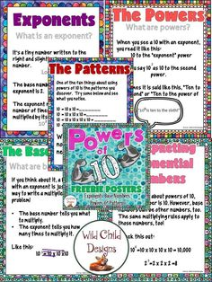 Powers of 10 Posters : Powers of 10 Posters Interactive Activities, Math Activities, Teacher Resources, Teaching Ideas, Creative Teaching, Teacher Tips, 4th Grade Math, Math Class, Math Math