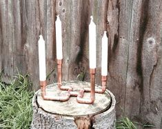 Industrial Copper Pipe Candle Holder Holiday by MacAndLexie