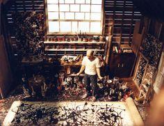 Jackson Pollock in zijn atelier