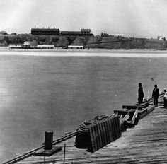 (ca. 1887)* - Looking at the shoreline from the pier showing the Santa Monica Hotel and bathhouse on Sunset Beach between Colorado and Utah (now Broadway).