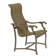 Tropitone Ravello Patio Dining Chair Finish: Mocha, Fabric: Sparkling Water