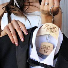Groom Hanger, Suit Up, Personalized, Wedding Day, Groomsmen and Best Man Tux Hanger, Pants Hanger, Engraved Wood, Tuxedo, Wedding Photo Prop