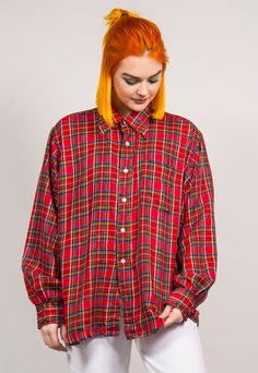 Vintage 90's Red Checked Oversized Tartan Shirt | The Vintage Scene | ASOS Marketplace