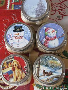 """RECYCLE"" Old greeting cards and decorate mason jar tops, fill with cookie mix, hot chocolate or cake mix! Great little gift!"