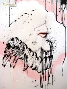feathers and curls ink storm portrait 2 pinkytoast by pinkytoast, via Flickr