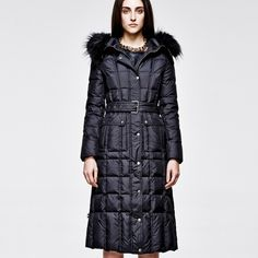 Fashion Cap Tight Waist Long Sleeve Warm Down Coat