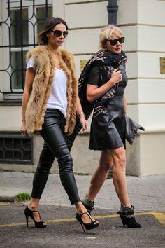 Gucci fur vest I AEO T-shirt I Zara leather pants I Humanoid oversized scarf I Zara leather dress I Clare Vivier clutch I #streetstyle I #point41