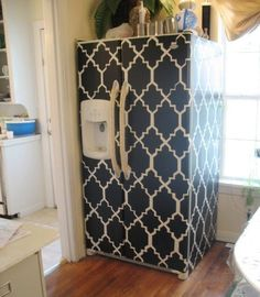 DIY Refrigerator Design: Contact Paper Pattern — Shoestring Pavilion | Apartment Therapy