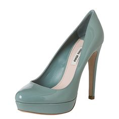 @Overstock.com.com - A pale teal patent leather construction in a classic shape defines these chic platform pumps by Miu Miu. Sitting atop a 4.75-inch covered heel and 1-inch platform, these designer stunners will add the perfect lift to your sophisticated wardrobe.http://www.overstock.com/Clothing-Shoes/Miu-Miu-Womens-Pale-Teal-Patent-Leather-Platform-Pumps/7917535/product.html?CID=214117 $299.99