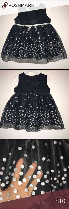 Black with glitter polka dots dress Wonder kids brand size 2t dress Black button up back with silver glitter bow and polka dots. Wore once! Great for any occasion! Super cute! Smoke free home Dresses