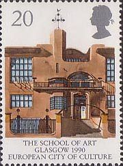 Glasgow School of Art , (Glasgow 1990 European City of Culture) . United Kingdom of Great Britain & Northern Ireland 1990 Glasgow School Of Art, Art School, Charles Rennie Mackintosh, Kingdom Of Great Britain, Postage Stamps, Uk Stamps, Royal Mail, Arts And Crafts Movement, Tampons