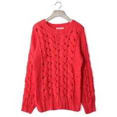 Classic Cable Knit Cut Out Jumper in Red ($57) ❤ liked on Polyvore