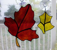 Large Red and Small Yellow Stained Glass Autumn Leaves by missourijewel, $32.95