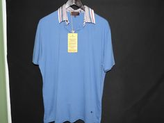Etro Milano Designer Blue Solid Casual Cotton Polo Shirt SZ L Made in Italy NWT #Etro #PoloRugby