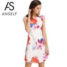 Elegant Floral Print Round Neck Sleeveless Back Zipper Women's A-Line Mini Dress