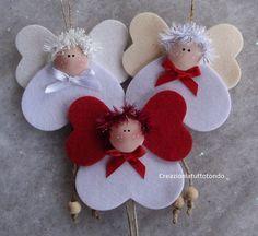 Angels w hearts ornaments Christmas Ornament Crafts, Angel Ornaments, Christmas Crafts For Kids, Felt Ornaments, Christmas Angels, Christmas Projects, Felt Crafts, Handmade Christmas, Christmas Fun