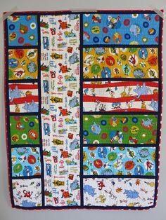 Seuss Baby Quilt, pattern by Bijou Lovely - big print . Seuss Baby Quilt, pattern by Bijou Lovely - big print . Quilting 101, Quilting Projects, Quilting Designs, Sewing Projects, Dr. Seuss, I Spy Quilt, Baby Quilt Patterns, Sewing Patterns, Panel Quilts