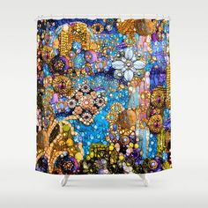 Gold & Blue Magic Contemporary Modern Style Shower Curtain Bath Curtain Textile