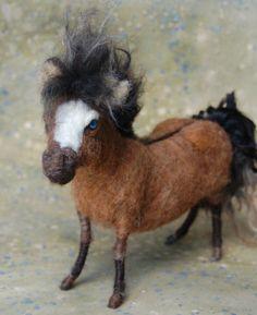 Needle Felted Wild Pony  Bay/Grulla by SarafinaFiberArt on Etsy, $225.00