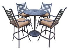Oakland Living Belmont 5Piece Bar Table Set with Sunbrella Cushions 36Inch * Locate the offer simply by clicking the image