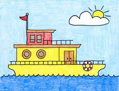 Drawing Gallery · Art Projects for Kids House Drawing For Kids, Drawing Lessons For Kids, Drawing Tutorials For Kids, Easy Drawings For Kids, Drawing Classes, Easy Art Projects, Projects For Kids, Easy Art For Kids, Oil Pastel Drawings