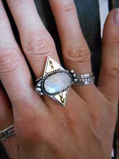 Rainbow Moonstone Sterling and Brass Ring by StarNative on Etsy, $95.00