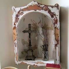 Corner display shelf wall hanging rustic by AnitaSperoDesign