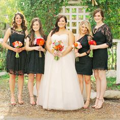 A crafty California wedding with pretty black bridesmaid dresses with pops of color in their bouquets!