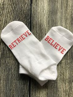Retrieve and believe IVF socks, IVF socks, infertility socks, sock buddies, sock exchange, lucky socks, ttc socks, egg retrieval socks by LottieandCo on Etsy