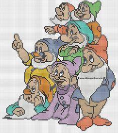 Schema i 7 nani cross stitch dysney figurak vyšívanie и dekorácie Disney Cross Stitch Patterns, Counted Cross Stitch Patterns, Cross Stitch Charts, Cross Stitch Designs, Cross Stitch Embroidery, Embroidery Patterns, Disney Stitch, Perler Bead Disney, Cross Stitch Fairy