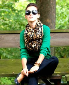 LV leopard scarf with green x