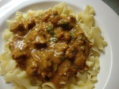 Goulasch with noodles - a popular German dish German Goulash, Beef Goulash, Goulash Recipes, Beef Recipes, Cooking Recipes, Pan Cooking, Ukrainian Recipes, Hungarian Recipes, German Recipes