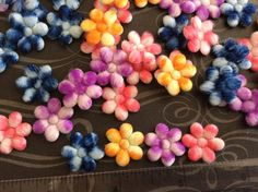 20 Padded Tie Dye Furry Felt Flower by creationandsupplies on Etsy, $2.25