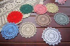 18 pcs hand crochet doilies for home decor, Nice table mat, coaster, DIY accessories