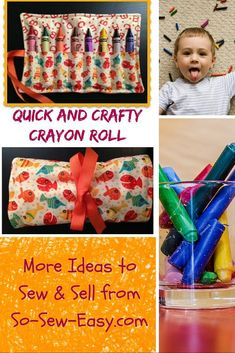 Quick and crafty crayon roll to sew. Very simple and ideal as a first sewing project. Also good to sew to sell.