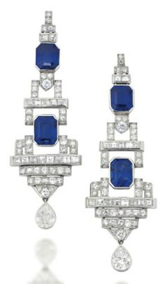 A PAIR OF ART DECO SAPPHIRE AND DIAMOND EAR PENDANTS