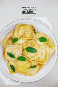 Sweet corn, pancetta, & sage agnolotti #recipe