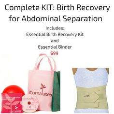 The DVD/ KIT  includes a daistasis/ core safe workout for postpartum, small props and an abdominal binder for diastasis recti repair. The Essential Binder is OB/GYN recommended for reclaiming your core and helps to approximate (bring together) your rectus abdominals.