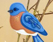 Bluebird Sewing Pattern PDF - Backyard Bird Stuffed Ornament - Felt Plushie - Benson the Bluebird - Instant Download