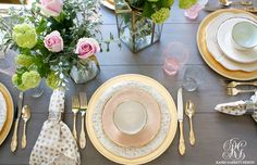mothers day table pacesetting by Randi Garrett Design pink and gold glam