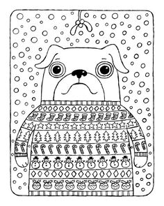 Christmas Coloring Page, Pug in Christmas Jumper with Mistletoe and Snow, Instant Download Printable Christmas Coloring Book Page
