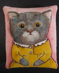 illustrated pillow ,,,, Little cat in yellow dress by Sandy Mastroni, via Flickr