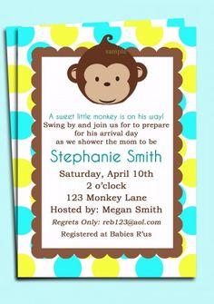 Boy's Mod Monkey Invitation