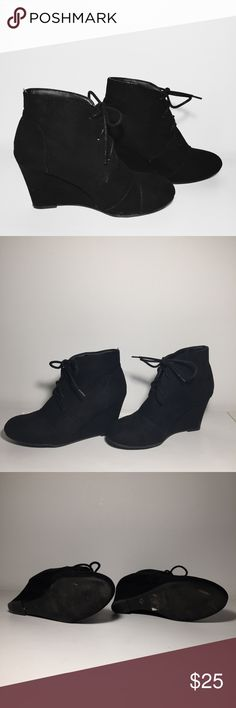 wet seal lace up booties •size 7 •worn once around my backyard to try the size •minor marks and stitching errors as shown •will clean again before shopping out  •let me know if you have any questions! Wet Seal Shoes Ankle Boots & Booties