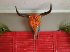 Tribal Indian painted cow skull red cross by FunkyArtbyMindi, $235.00