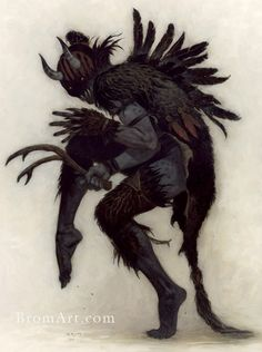 Photo of Krampus artwork by Brom for fans of Fantasy Art. Artwork from Brom's upcoming book 'Krampus: the Yule Lord'. Dark Fantasy, Fantasy Art, Fantasy Books, Fantasy Characters, Cartoon Characters, Tag Art, Fantasy Creatures, Mythical Creatures, Art Vampire