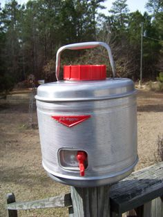 Vintage J C Higgins Aluminum Picnic Jug...Retro Family Fun...Red Lid...Insulated Camp Gear...Water Cooler..Sears Roebucks...Vintage Thermos on Etsy, $25.00