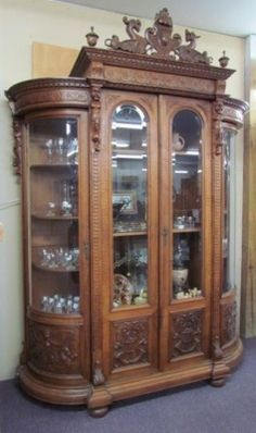 Carved Victorian Walnut Cabinet - Morris Antiques love this! Victorian Interiors, Victorian Furniture, Victorian Decor, Victorian Homes, Antique Furniture, Victorian Era, Furniture Styles, Luxury Furniture, Furniture Decor