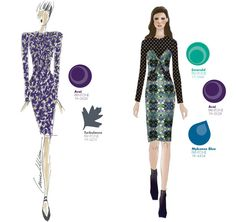 (5a) Carmen Marc Valvo - (5b) Charlotte Ronson - Pantone 2013 Fall Fashion Color Report Womens